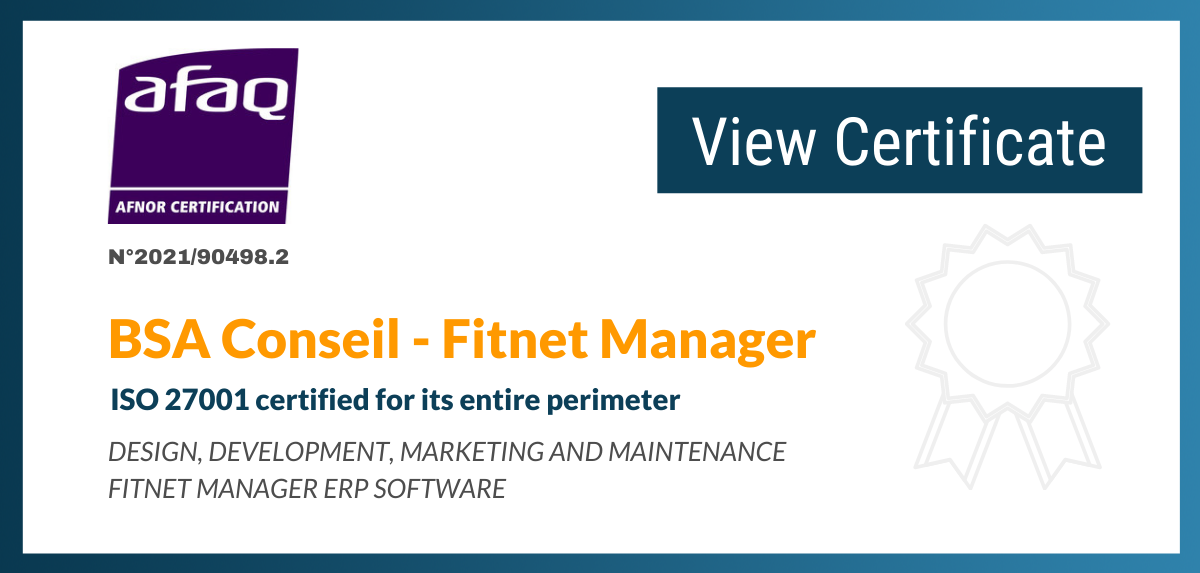 Fitnet Manager ISO 27001 certified